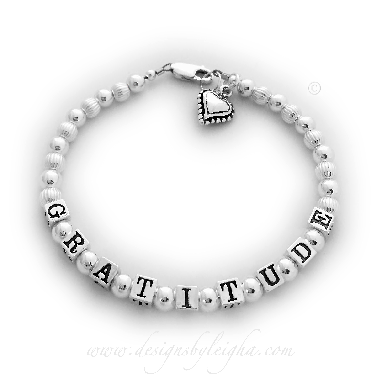 Gratitude Inspirational Bracelet shown with a Beaded Heart Charm www.LeighaMontigue.com