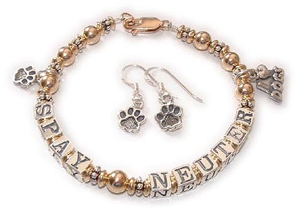 Spay and Neuter Bracelet with a Paw Print Charm and Paw Print Earrings