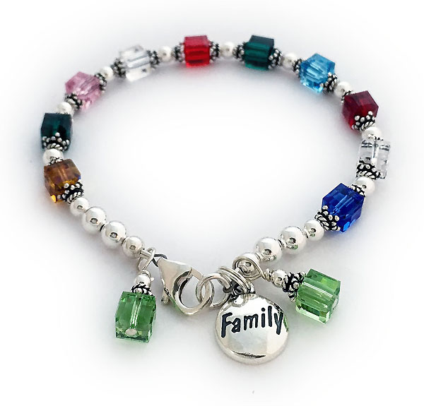 JBL-BB1-1	String Bracelet Enter: Nov May Oct Apr Jul May Mar Jan Apr Sep They added 2 August birthstone crystal dangles. It comes with the FAMILY charm shown.