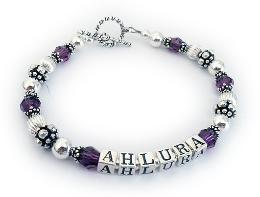 JBL-C5-1 String Bracelet Enter: AHLURA/Purple  Shown with a toggle clasp.