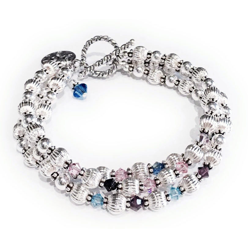 Birthstone Bracelet with 3 strings with kids, grand kids and great grand kids!