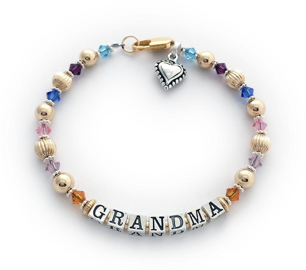 Enter: GRANDMA/Nov Jun Oct Sep Feb Mar Shown with an upgraded 14k gold-filled lobster clasp and a Beaded Heart Charm.