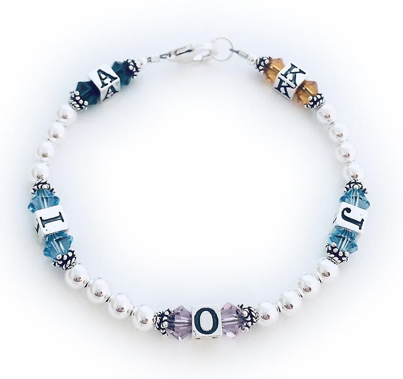 K/Nov J/Dec O/Jun I/Dec A/May - Sterling Silver and Swarovski crystal Birthstone and Initial Bracelet - JBL-BB7-Initials