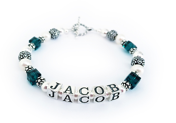 JBL-SS6 - Jacob Mother Birthstone Bracelet with May Birthstones