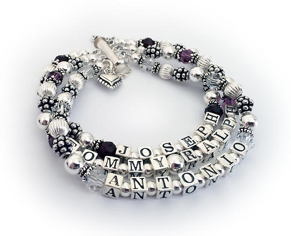 JBL-C5-3	String Bracelet Enter: JOSEPH/Jan - TOMMY RALPH/Feb - ANTONIO/Apr Shown with a slide clasp and they added a Beaded Heart Charm.