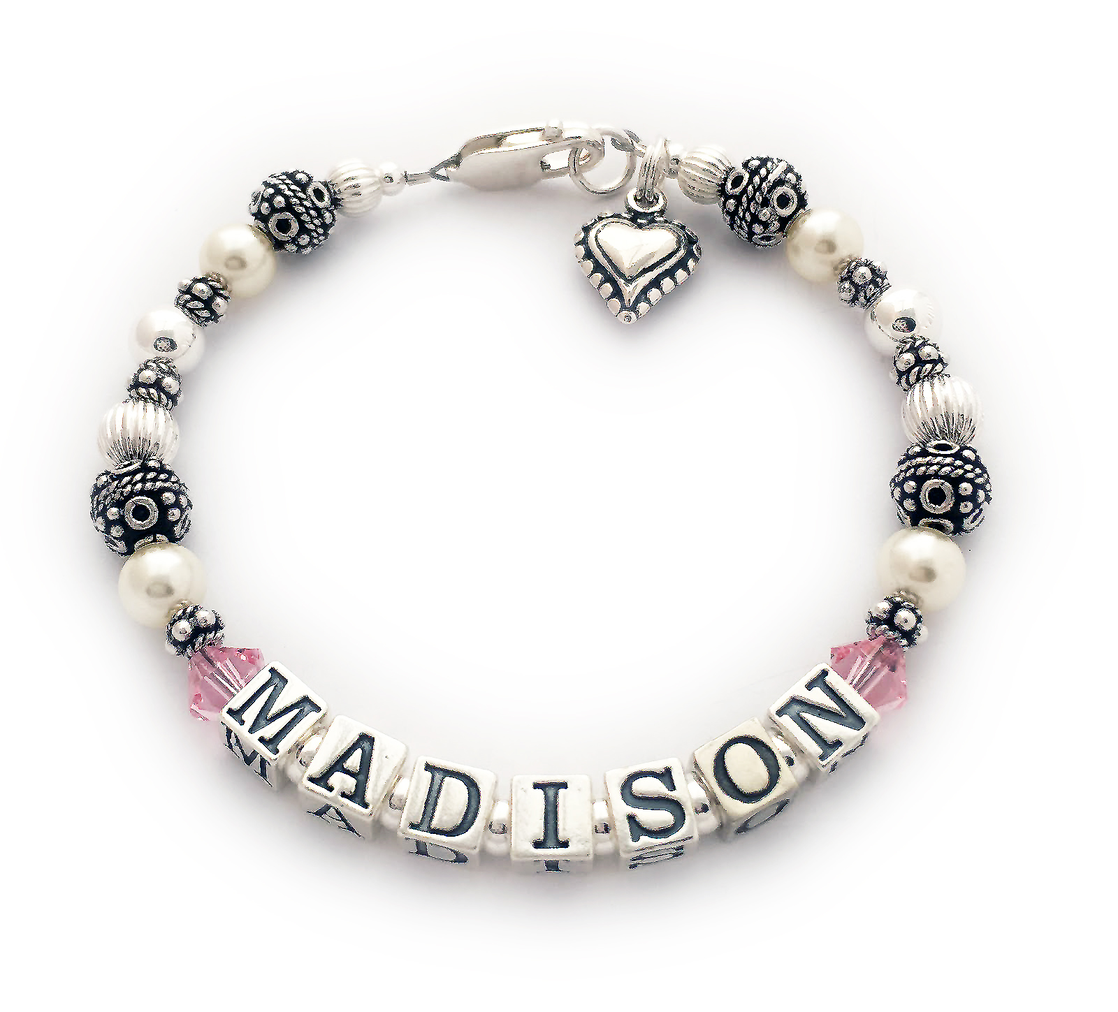 This is a 1 string Mothers Name Bracelet with MADISON. They added free Swarovski birthstone crystals before and after MADISON. They also added a Bead Heart Charm. It is shown with one of my free beautifully simple Lobster claw clasps. JBL-PS1-1string