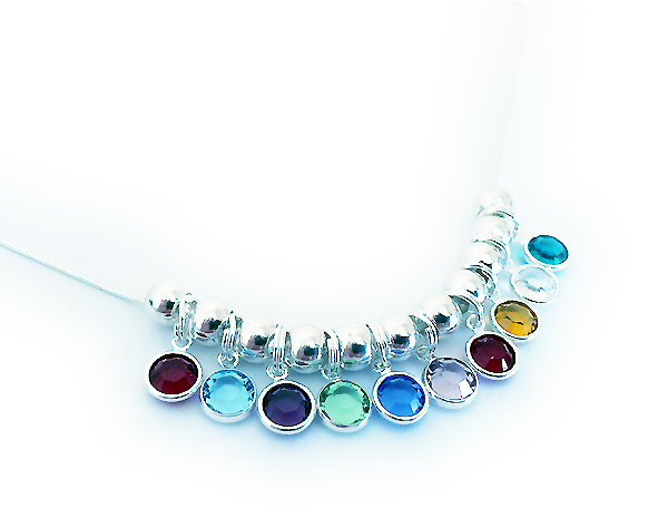 Swarovski Crystal Channel Birthstone Necklace shown with 10 birthstone charms - January, March, February, August, September, June, January, November, April, December