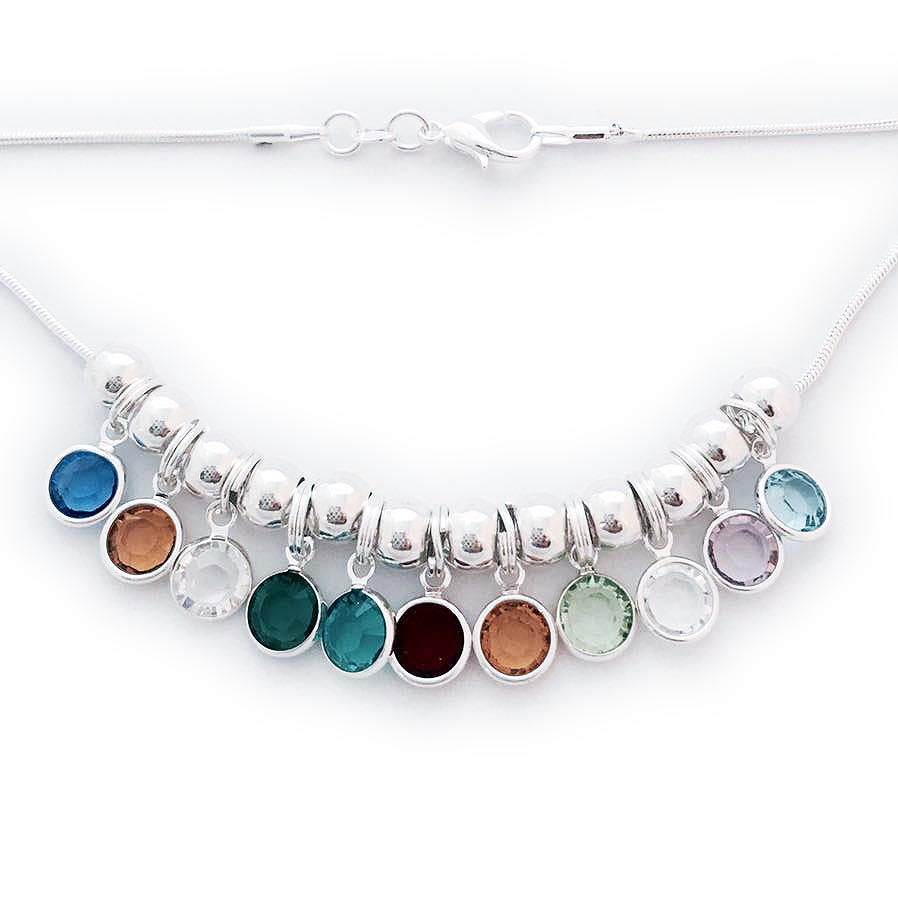 Swarovski Crystal Channel Birthstone Necklace shown with 11 birthstone charms and sterling silver spacers - September, November, April, May, December, July, November, August, April, June and March