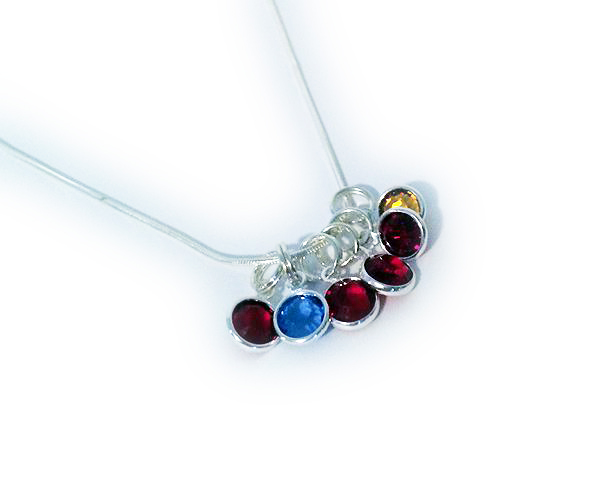 Sterling Silver Birthstone Necklace with 4 birthstones - January January August February