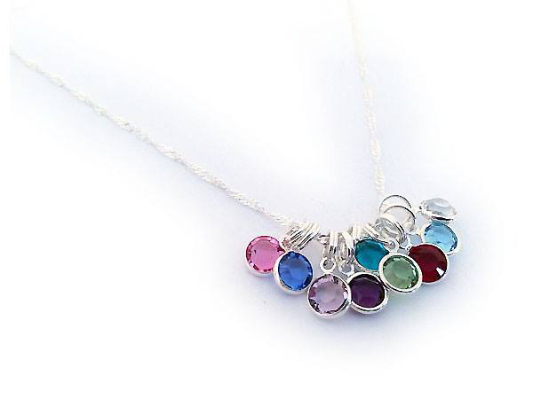 Sterling Silver Birthstone Necklace with 9 birthstones - October, September, June, February, December, August, July, March and April