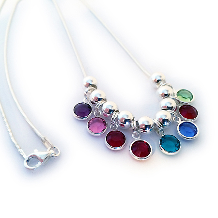 Swarovski Crystal Channel Birthstone Necklace shown with 8 birthstone charms and sterling silver spacers -February, October, July, January, December, September, January, August