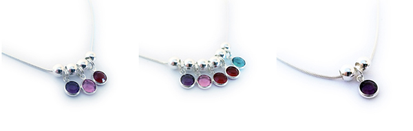 Birthstone Necklaces with Channel Birthstone Charms by Swarovski