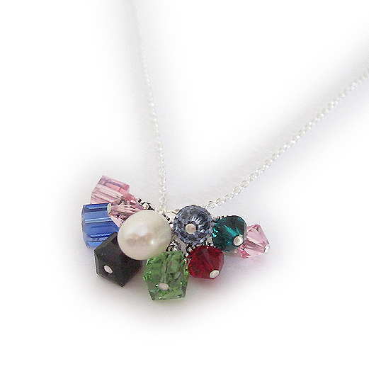 Sterling Silver Birthstone Necklace with lots of birthstone charms.