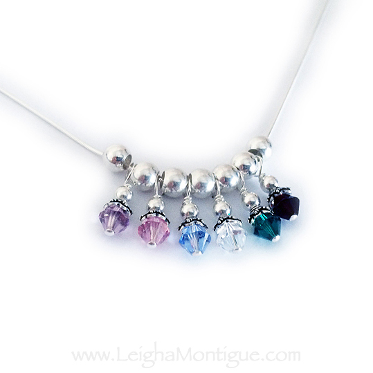 Sterling Silver Birthstone Necklace with 6 birthstones - June, October, December, April, May and January