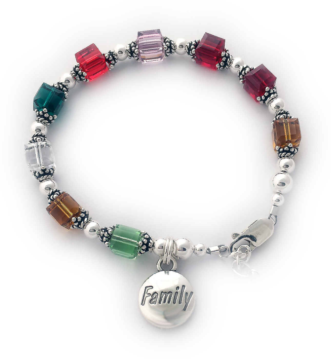 Birthstone Bracelet Enter: Aug Nov Apr May Jul Jun Jan Jan Nov Shown with an upgraded lobster claw clasp with an extension and a free FAMILY charm.
