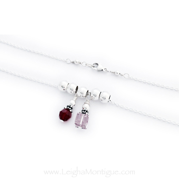 Sterling Silver 2 Birthstone Necklace - February and June