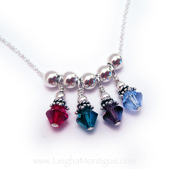 Sterling Silver Birthstone Necklace with 4 birthstones -  July, May, February, December