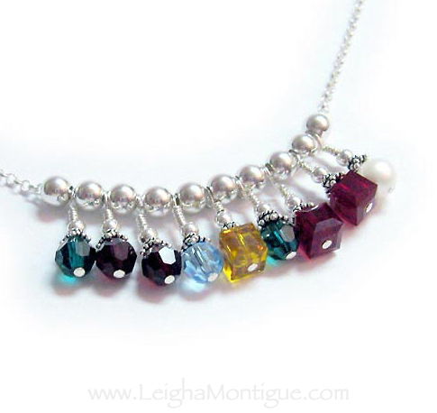Sterling Silver Birthstone Necklace with 9 birthstones - May, February, January, March, November, May, July, July, June