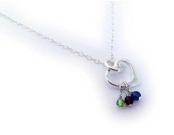 Gemstone Birthstone Necklace shown with 3 birthstone charms Birthstones: August, January, February Chain: .925 sterling silver Rolo Chain