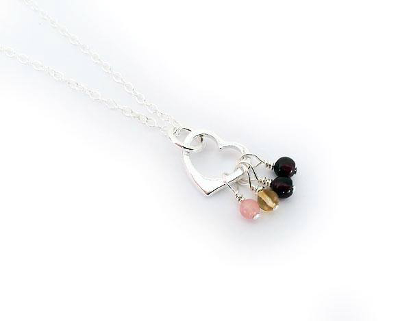 Gemstone Birthstone Necklace shown with 4 birthstone charms Birthstones: October, November, January, January Chain: .925 sterling silver Rolo Chain