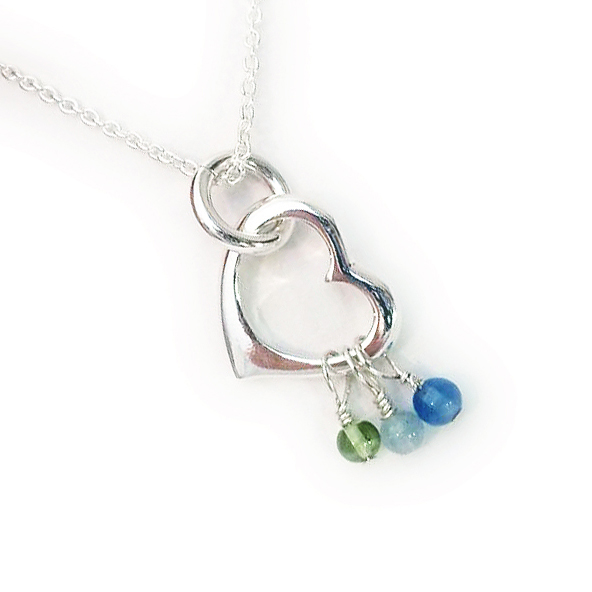 Birtshstone Heart Charm Necklace with semi precious gemstones - JBL-CC-N2-Gemstones