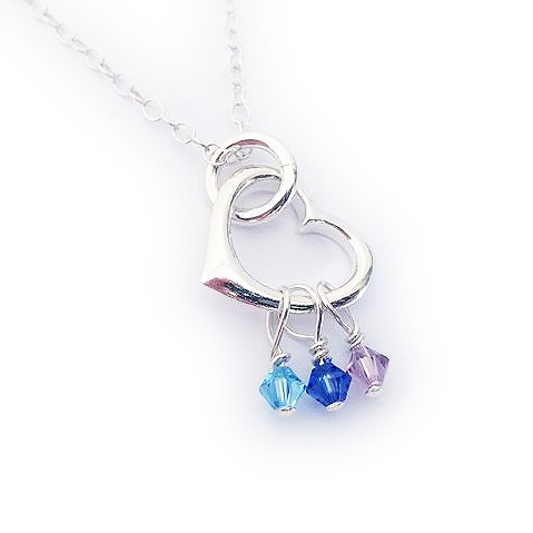 Birthstone Heart Charm Necklace with Birthstone Charms - JBL-CC-N2- Swarovski