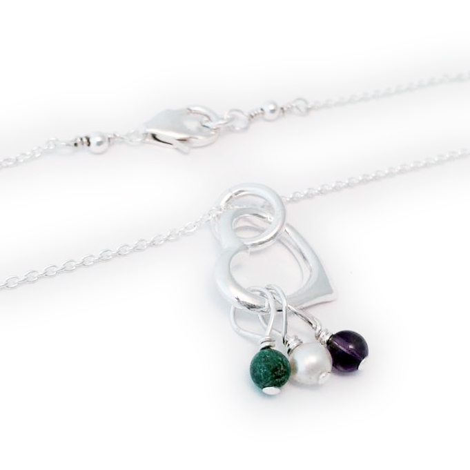 Gemstone Birthstone Necklace shown with 3 birthstone charms Birthstones: May, June, February Chain: .925 sterling silver Rolo Chain