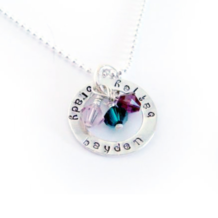 Open Circle Kids Birthstone Charm Necklace