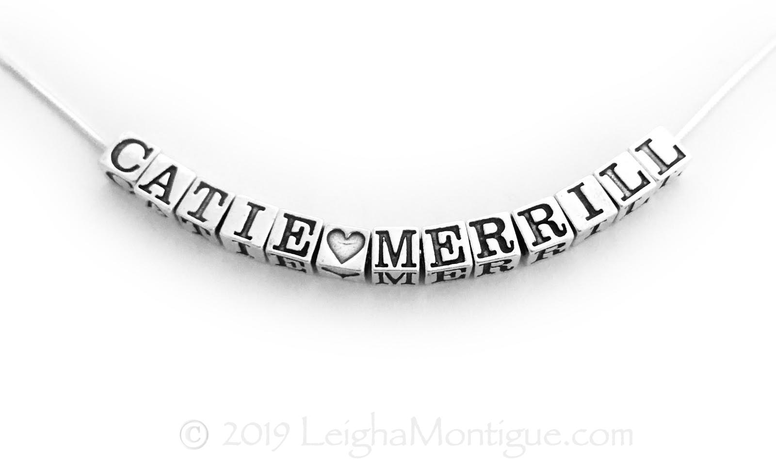 Catie and Merrill Sterling Silver Snake Chain Name Necklace - JBL-N- Snake - 4.5mm block letters