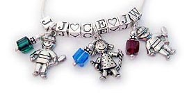 3 Kid Charm Necklaces with Initials, Birthstones, Heart Blocks and Boy Charms or Girl Charms.