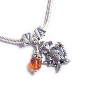 1 Kid Charm Necklaces with Initials, Birthstones, Heart Blocks and Boy Charms or Girl Charms.