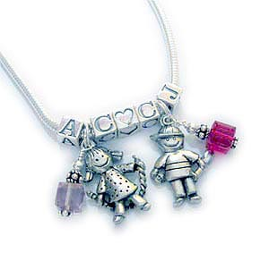 2 Kid Charm Necklaces with Initials, Birthstones, Heart Blocks and Boy Charms or Girl Charms.