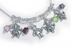 4 Kid Charm Necklaces with Initials, Birthstones, Heart Blocks and Boy Charms or Girl Charms.
