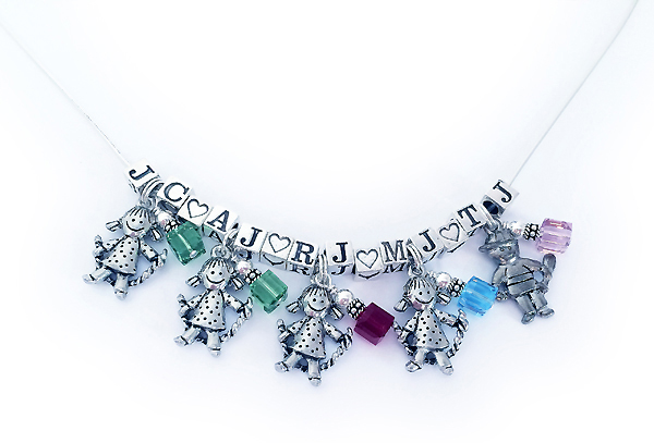 5 Kid Charm Necklaces With Initials Birthstones Heart Blocks And Boy Charms Or
