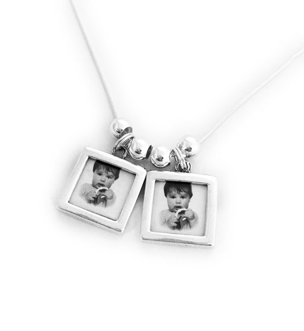 Picture Frame Charm Necklace with 2 Photo Frame Charms