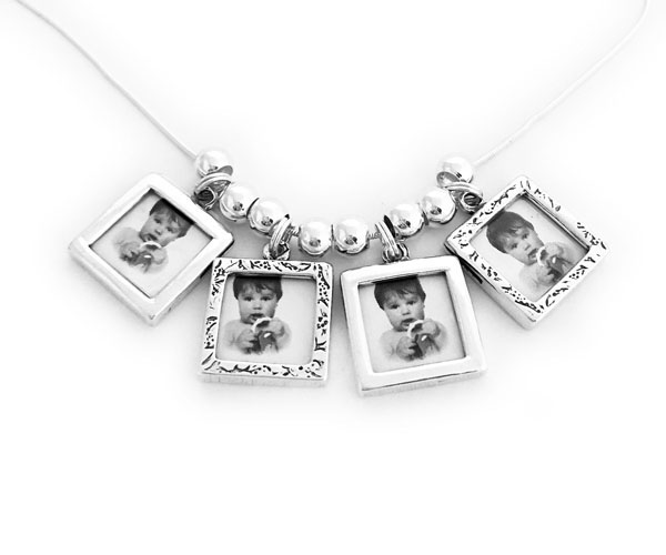 Picture Frame Charm Necklace with 4 Photo Frame Charms