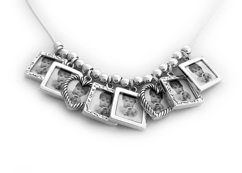 Picture Frame Charm Necklace with 8 Photo Frame Charms