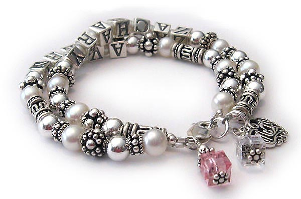 JBL-PS2-2strings - ZACHARY and AVERY This is a 2-string bracelet with 2 childrens names, 2 add-on birthstone crystal dangles and an add-on Filigree MOM charm).