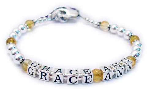 JBL-Gem4-1 string GRACE ANN  This is a 1-string bracelet with a lobster claw clasp. Order: GRACE ANN/Topaz