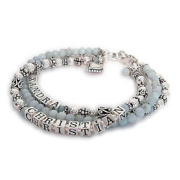 I have an Aquamarine (you choose the gemstone) Birthstone Bracelet shown here with 2 names and 3 strings. The Mother or Grandmother Aquarmarine Birthstone Bracelet.