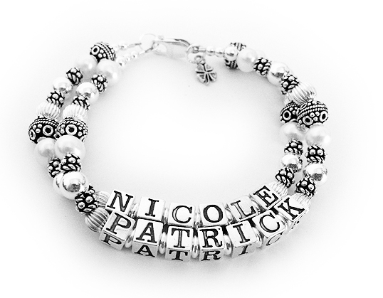 JBL-PS1-2 string Nicole & Patrick This is a 2 name Pearl Gemstone Mother Bracelet. They added a Tiny Shamrock Charm.