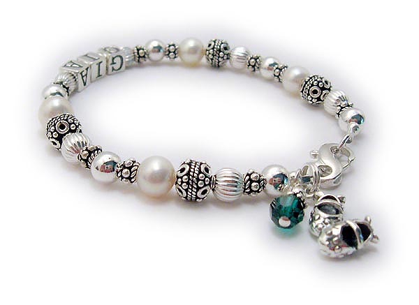 'JBL-PS1-1 string GIA - This is a 1 name Pearl Gemstone Mothers Bracelet with GIA. They added a Birthstone Crystal Dangle and a Baby Girl Bootie Charm.