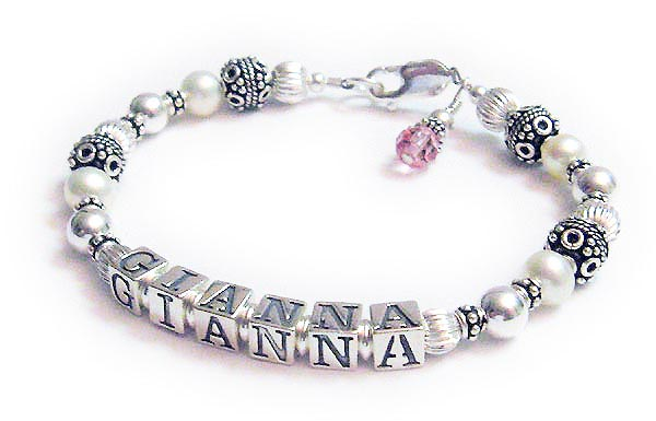 JBL-PS1-1 string GIANNA  This is a 1 name Pearl Gemstone Mothers Bracelet with GIANNA. They added a birthstone crystal dangle.