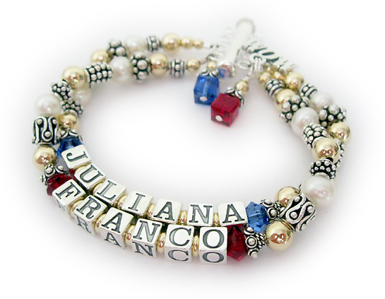 JBL-PS2-2strings - JULIANA & FRANCO Name: Juliana/Sep-Franco/Jul Swarovski: July or Red and Dark Blue or September  Charms: Birthstone Crystal Dangle - July & September & MOM charm  Clasp: This is going to be a 4-string bracelet so a 4-string slide clasp is shown.  I took the picture of it before I added the other 2 strings so you can have a visual of what a 2-string will look like.