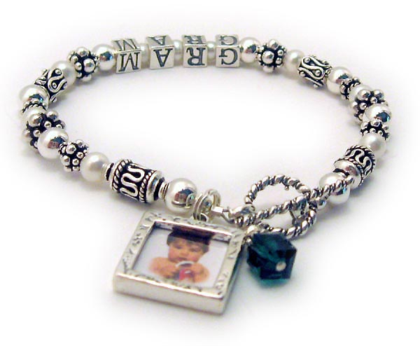 JBL-PS2-1string - GRAM This 1-string bracelet is shown with TWO add-ons: Square Textured Picture Frame Charm and a Birthstone Crystal Dangle. I would be happy to add pictures to the frames for you. Just email me the picture(s) after you place your order.