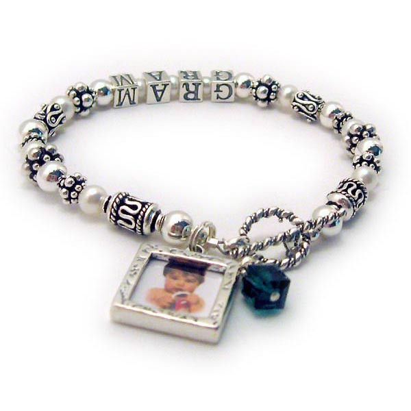Gram birthstone bracelet with a picture frame charm and a birthstone crystal dangle. JBL-PS2
