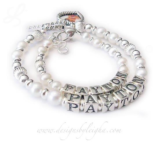 JBL-PS3-1string - PAYTON *2 bracelets shown* Here is a Mommy and Daughter Pearl and Sterling Bracelet. The Mother Bracelet is shown with a Heart Picture Frame Charm and the Daughter Bracelet is shown with a Heart Lobster claw extension clasp.