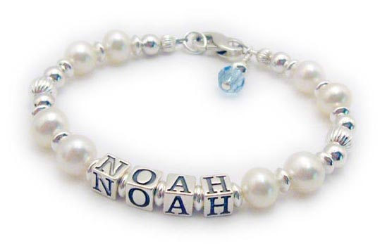 JBL-PS3-1string - NOAH One string bracelet shown with a lobster clasp and an add-on Birthstone Crystal Dangle.