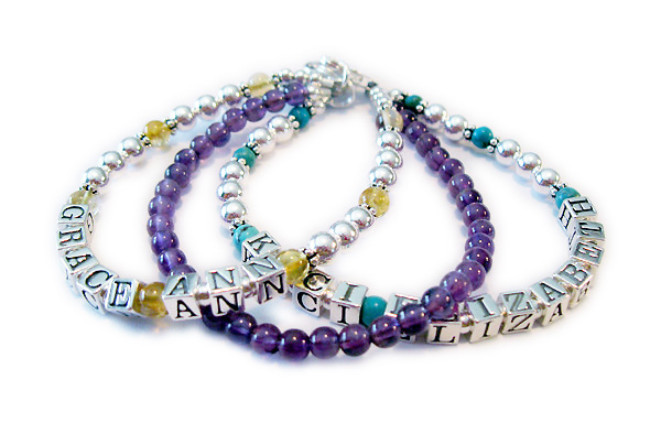 JBL-Gem4-3 string Grace Ann & Kaci Elizabeth  This is a 3 string bracelet. Order: 1/Grace Ann/Topaz 2/Ame 3/Kaci Elizabeth/Topaz Please abbreviate, if possible, becaue space is limited in the order blank.