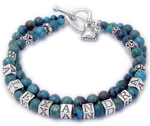 JBL-Gem8Turq	2-String Bracelet Shown with an add-on Heart Toggle Clasp and a Beaded Heart Charm. Order: ALEXANDRA/Turq-Blank